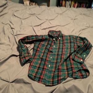 Ralph Lauren Boy's Green LS Button Up. Size 4T